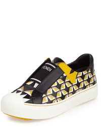 Fendi Bug Eyes Slip On Sneaker Blackyellow
