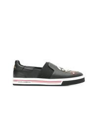 Dolce & Gabbana Cartoon Patchwork Flat Sneakers