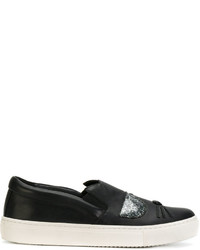 Karl Lagerfeld Cat Motif Slip On Sneakers
