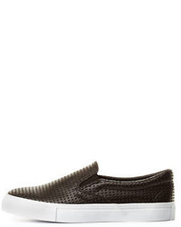 Charlotte Russe Perforated Faux Leather Slip On Sneakers