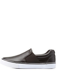 Charlotte Russe Twin Gored Faux Leather Slip On Sneakers