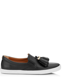 Jimmy Choo Dale Flat Black Vacchetta Leather Slip On Trainers With Tassel Embellisht
