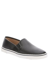 Dolce Vita Dv By Black Perforated Faux Leather Gibsin Slip On Sneakers
