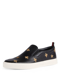 Gucci Dublin Bee Star Embroidered Leather Slip On Sneakers
