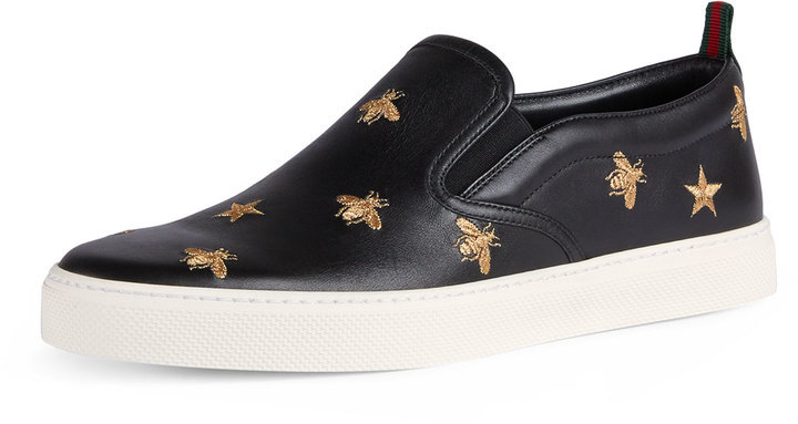 3911a865852 ... Gucci Dublin Bee Star Embroidered Leather Slip On Sneakers ...