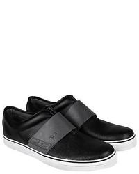 Puma El Rey Cross Perf L Black Gray Leather Slip On Sneakers Shoes