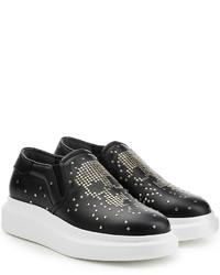 Alexander McQueen Embellished Slip On Leather Sneakers
