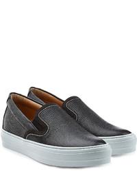 Salvatore Ferragamo Embossed Leather Slip On Sneakers
