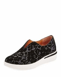 Gentle Souls Hanna Flocked Leather Slip On Sneaker Black