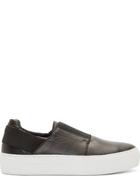 Helmut Lang Black Leather Slip On Sneakers