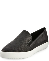 J Slides Doobie Snake Embossed Slip On Sneaker Black