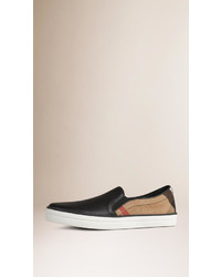 Burberry Leather And Check Slip On Trainers