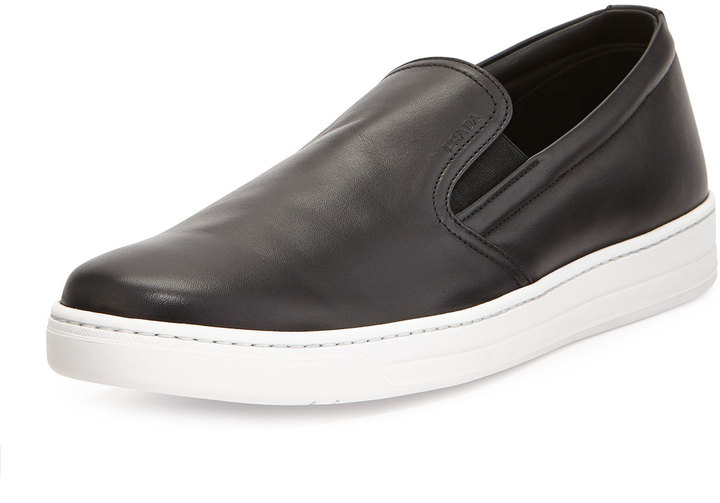 160513d504 $620, Prada Leather Slip On Sneaker Black