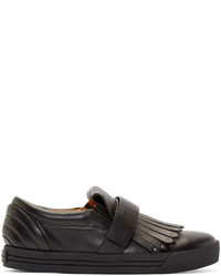 Marc Jacobs Black Fringed Slip On Sneakers