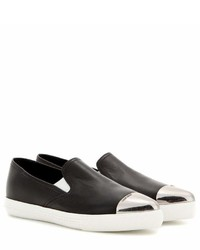 Miu Miu Leather Slip On Sneakers