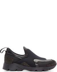 MM6 MAISON MARGIELA Black Neoprene Slip On Sneakers