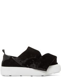 MSGM Black Velvet Ruched Slip On Sneakers