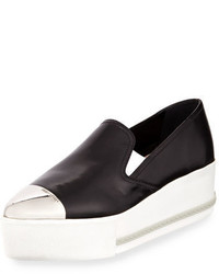 Miu Miu Platform Cap Toe Leather Slip On Sneaker