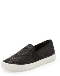 Vince Preston Woven Leather Slip On Black