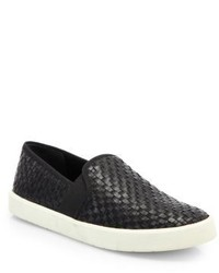 Vince Preston Woven Leather Slip On Sneakers