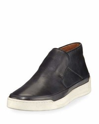 John Varvatos Remy Leather Mid Top Slip On Sneakers