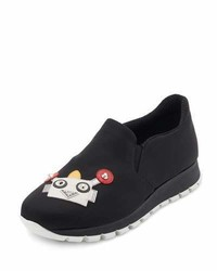 Prada Robot Appliqu Slip On Sneaker Black