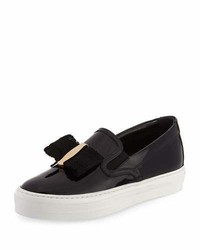 Salvatore Ferragamo Pacau Gros Bow Slip On Sneaker Nero