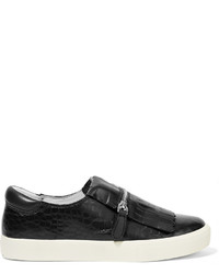 Ash Snake Effect Leather Slip On Sneakers