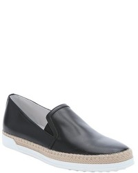 Tod's Black Leather Slip On Espadrille Sneakers