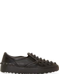 Valentino Black Rockstud Slip On Sneakers