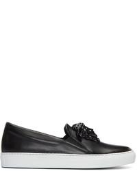Versace Black Leather Medusa Slip On Sneakers