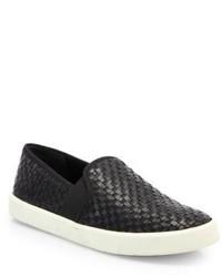 Vince Preston Woven Leather Slip On Sneakers