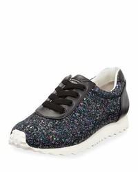 Stuart Weitzman Alison Glitter Sneaker Black
