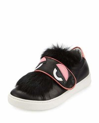 Fendi Leather Fur Trim Monster Sneaker Black Junior