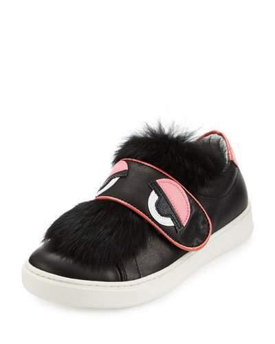 Fendi Leather Fur Trim Monster Sneaker Black Junior
