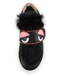 Fendi Leather Fur Trim Monster Sneaker Black Toddler