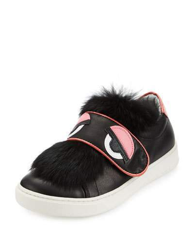 Fendi Leather Fur Trim Monster Sneaker Black Youth