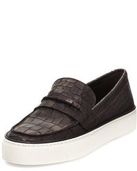 Stuart Weitzman Lounge Crocodile Embossed Loafer Sneaker Black