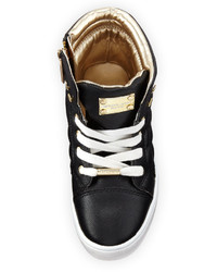 MICHAEL Michael Kors Michl Michl Kors Cora Faux Leather High Top Sneaker Black Toddler