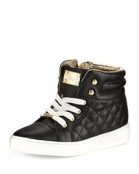 MICHAEL Michael Kors Michl Michl Kors Cora Faux Leather High Top Sneaker Black Youth