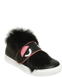 Fendi Monster Leather Sneakers W Lapin Fur