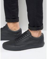 vans black leather sneakers