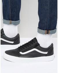 Vans Old Skool Leather Zip Sneakers In