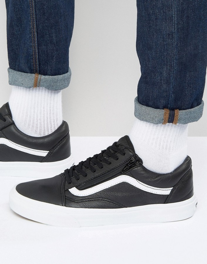 ... Vans Old Skool Leather Zip Sneakers In Black V18gew9 ... a8c6d3c9146a