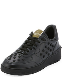 Valentino Rockstud Leather Sneaker Black