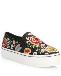 Alice + Olivia Sasha Embroidered Leather Sneakers