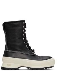 Jil Sander Black Deerskin Hiking Boots