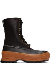 Jil Sander Brown Orange Deerskin Hiking Boots