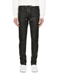 Balmain Black Leather Biker Lounge Pants