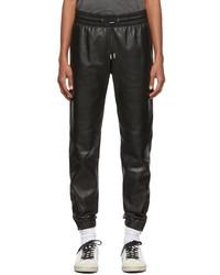Saint Laurent Black Leather Jogger Trousers